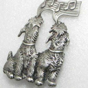 Vintage JJ Singing Dogs Brooch